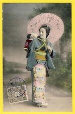 cpa Cachet CHINA 1907 BEAUTÉ JAPANESE BEAUTIE GEISHA Ombrelle Sandales Geta