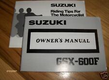 1988 1989 Suzuki GSX-600F Owners Manual GSX 600 F