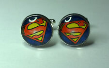 Superman Logo Glass Domed superhero cufflinks