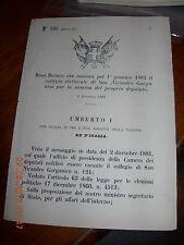 REGIO DECRETO 1881 CONVOCA COLLEGIO ELETTORALE COMUNE SAN NICANDRO GARGANICO