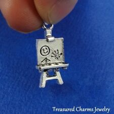 Silver ARTIST EASEL Child School Art Class CHARM PENDANT