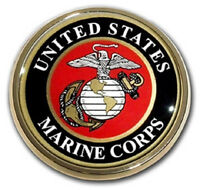 USMC Marine Corps Colored Metal Auto Emblem: United States Chrome Car Decal MVP