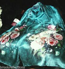 """100% Silk Scarf/175x50cm-Exquizite/Delight*Silk-Art""""Exotica Harmony-1-brteal*BR"""