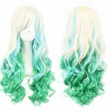Long Curly Neon Blue Women Cosplay Party Wig Perfect for Halloween Theme Parties