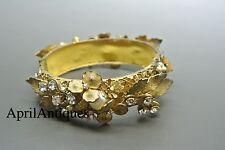 Vintage Miriam Haskell faux baroque pearl beaded flower leaf filigree bracelet