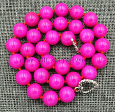 "12MM natural rose red Jade round jewel in terms of necklace 18 ""AAA"