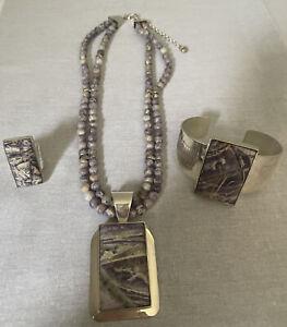 Jay King DTR Mine Finds Sterling Silver Purple 4 Pc Lot Necklace Bracelet Ring
