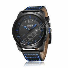 Reloj de Pulsera OHSEN De Acero Inoxidable de Cuarzo Fecha de Cuero Genuino para Hombre