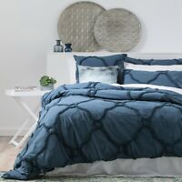 Renee Taylor Moroccan 100% Cotton Chenille Tufted Quilt Cover Set-Twilight