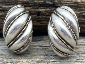 Vintage Tiffany & Co. Sterling Silver & 14k Gold Shrimp Huggie Clip-on Earrings