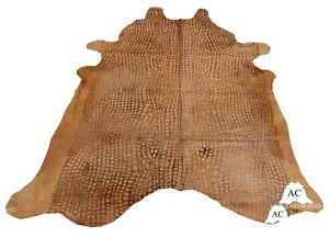Croco Embossed Dyed Beige Cowhide Rug - (XL 7.5 x 6.5 ft )