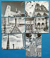 Set of 6 Stunning B&W New Glossy Postcards, NOTRE DAME Cathedral Church Paris