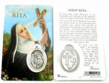 NEW LAMINATED ST. RITA HOLY PRAYER CARD W / MEDAL PATRONESS OF THE IMPOSSIBLE