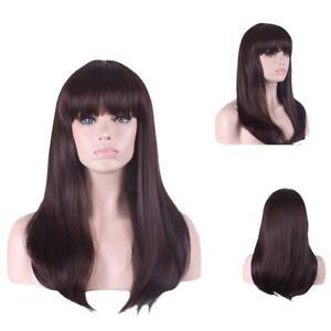Brown Straight Medium Long Full Bang Womens Natural Synthetic Hair Non Lace Wig