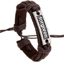 Wholesale 12pcs Handmade Leather Alloy Blackground forgiven Accessories Bracelet