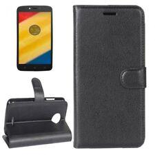 Cartera De Bolsillo Negro Premium para Motorola Moto C Plus Estuche Cubierta