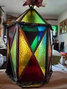 Vintage MID CENTURY ART DECO Stained Glass Hanging Ceiling Chandelier Light (D)