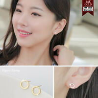 14K Solid Yellow Gold Circle Shape Stud a Pair of Earrings w/ Silicone plugs TPD