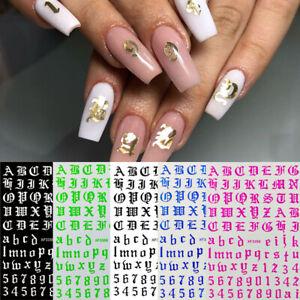 12 pcs DIY Alphabet Design Water Transfer Decals Sticker Manicure Nail Art Decor