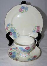 Vintage Art Deco Foley E. Brain & Co Blue & Pink Flowers Trio - Pattern No.1810