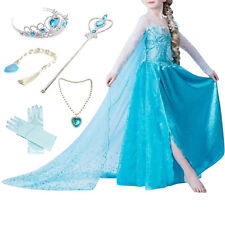 Frozen Inspired Lace Elsa Costume Dress Girl Cosplay Party+Crown+Necklace+Wig