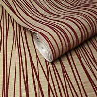 Flocked Texture Wallpaper Flock Burgundy Red Velvet Gold Metallic Flocking Lines