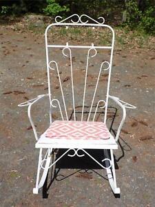 Vintage Century Modern Wrought Iron Metal Rocking Chair Patio Furniture Rocker