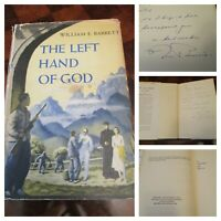 SIGNED The Left Hand of God William E. Barrett 1951 HCDJ 1st Printing Autograph