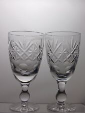 """LARGE CUT GLASS CRYSTAL WINE GLASSES SET OF 2 WITH ETCHED  PATTERN - 6 1/8"""" TALL"""
