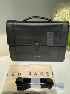 Designer Ted Baker Black Leather Messenger Folio Bag Brief Case BNWT RRP £279