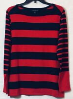 NWT Tommy Hilfiger Women's Sweater Boat Neck Red Navy Stripes Long Sleeve L