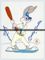 Very RARE Mickey Mantle & Reggie Jackson signed Bugs Bunny Animation Cel Print