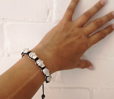 Black & Diamante Cráneo Con Cable friendhip Pulsera Ajustable-emo-Goth