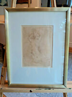 ORIGINAL DRYPOINT ETCHING NUDE BY N. NADZO MATTED AND FRAMED