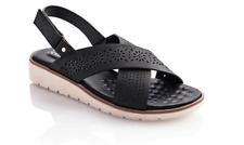 Chiemsee Sandale Sandalette in schwarz Gr 37 mit Fussbett Sandalen