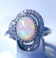 "GORGEOUS WHITE  FIRE OPAL/WHITE TOPAZ   RING UK Size ""P"" US 8"