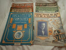 6 Piece Lot of Vintage Early 1900s Sheet Music I LOVE THE LADIES & More