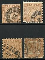 GERMANY STATES BADEN SCOTT# 17 MICHEL# 15 USED LOT OF 4 AS SHOWN