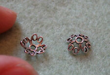2 Argento Sterling 925 Tappi Perline Fiore Spacer UK ricerca tono antico 6 mm