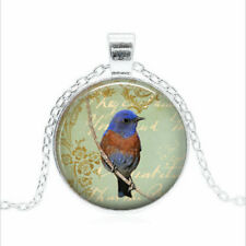 bluebird necklace bird Tibet silver Glass dome Necklace chain Pendant Wholesale