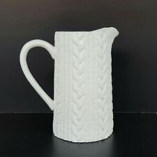 New listing Cable Knit Pitcher by Mud Pie, White Ceramic, Unique Cable Knit Pattern
