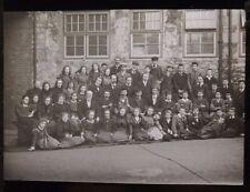 c1900 Large SCHOOL GROUP PHOTO - Mixed Boys & Girls Glass Lantern Photo Slide