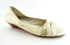 COLE HAAN SIZE 8.5 ELLY Gold Open Toe Wedge Flats Shoes 8 1/2 N Air