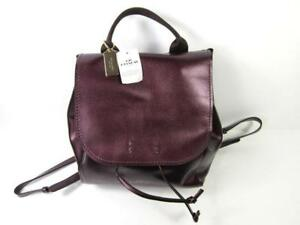 Coach Large Derby Leather Backpack F38556 in Metallic Raspberry.