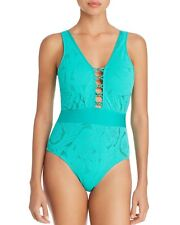 83cd9672d3 Athena Jade Green crochet All Dressed up plunge front one piece swimsuit  size 12