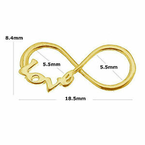 24K Gold Plated Sterling Silver 18.5mm Infinity Love Charm Link Connector