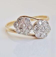 """Antico Periodo edoardiano 18ct Oro Diamante Doppio Daisy Cluster RING c1910; Uk Taglia """"M"""""""