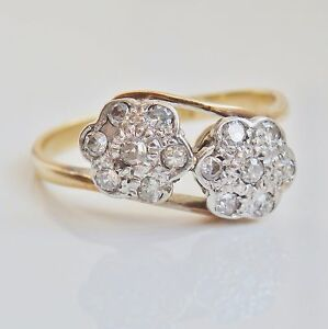 Antique Edwardian 18ct Gold Diamond (0.30ct) Double Daisy Cluster Ring c1910