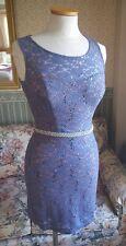 Women's City Studio Stretch Lace Dress-Sz 5-Fitted-NWT-Sexy-Sequins-Blue-Stretch