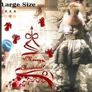 Merry Christmas Tree Garland Ribbons Angels Shop Window Sticker House Decoration